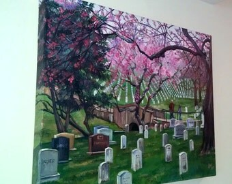 Arlington Cemetery Landscape - 20x16in Original Oil Painting On Sale