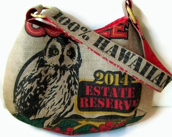 Owl Burlap Hobo Handbag. Repurposed Kauai USA Coffee Bag. Handmade in Hawaii.