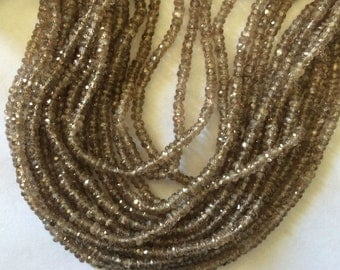 """13.5"""" Strand 4mm Faceted Brown Zircon Rondelle Beads"""