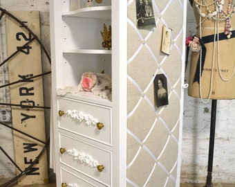 Painted Cottage Chic Shabby Romantic French Armoire LGDC06