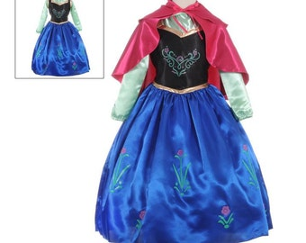 SHIPS TODAY New Anna froze Inspired Costume dress with cape size  4 ,6 , 8 or 10