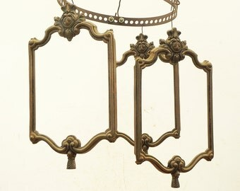 3 Salvaged Vintage Lantern Chandelier Panels Chandelier LAMP PARTS Repurpose DIY #2