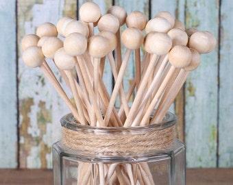 Rock Candy Sticks, Wooden Cake Pop Sticks, Wooden Lollipop Sticks, Marshmallow Pop Sticks, Wooden Lolly Sticks, Wooden Pop Sticks (50)