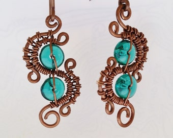 Sea Blue Glass and Copper Wire Woven Earrings