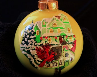 Hand Painted Ornament-Cardinal Flying in Bird House-Item 759