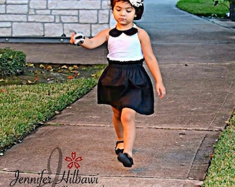 Halter Top and High Waisted Skirt -Baby Toddler Girls Bloomers Shorties - Fall, Birthday Pics, - Peter Pan Collar Black White - Classic
