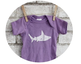 Baby Onepiece Screenprinted With a Shark, Hand Printed, Pastel Lavender Purple, Short Sleeved, Baby Shower , Infant Clothing, Ocean Animal