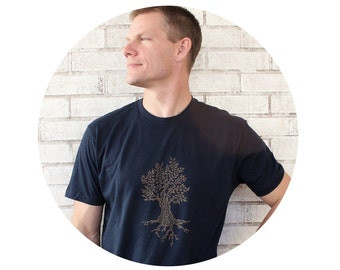 Tree Tshirt in Navy Blue, Men's Graphic Tee, Unisex Navy Cotton Crewneck T Shirt, Short Sleeved, Hand Printed Nature Inspired Leaves Forrest