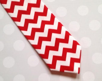 Mens Red Chevron Tie