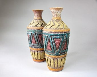 Mid Century Italian Pottery Ceramic Vase Fat Lava Geometric Pattern Possibly Fratelli Fanciullacci 1960s