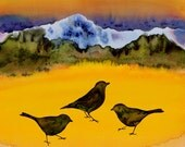 3 Blackbirds original batik on silk fabric