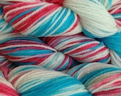 Hand Painted Merino Wool Worsted Weight Yarn in Circus Tent Hand Dyed Red White Aqua