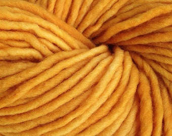Bulky / Chunky Weight Hand Painted Wool Yarn Pencil Roving in Acorn Gold 60 yards Hand Dyed