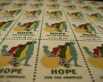 1969 Scott No 1385 Easter Seals US Postage Stamps Sheet Hope For The Crippled Children and Adults