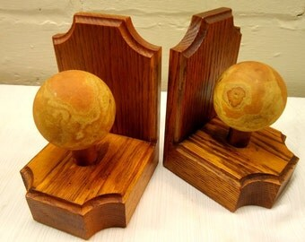 Art Deco 1930s Wood and Stone Bookends