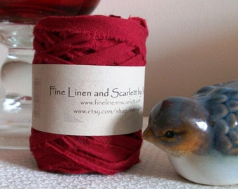 Rag yarn mini, Fiber Arts supplies, Granny Squares, Claret Red