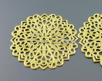 2 round floral filigree pendants, gold metal findings, filigree pendants, jewelry charms, craft supplies 1056-MG (matte gold, 2 pieces)