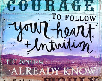 "Heart + Intuition - 11"" x 14"" original mixed media word art"