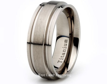 Titanium Wedding Band, Brushed Wedding ring, Grooved Wedding Band, Titanium Ring, Mens Wedding Band, Anniversary Ring, Personalized Ring