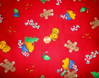GINGERBREAD GOODIES Christmas Holiday Red Fabric By The Yard...Fun Little Gingerbread Cupcake and Candy