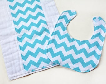 Baby Girl Bib Burp Cloth Gift Set Baby Bibs Washcloths Security Blanket, Baby Items, Baby Mini Blankets, Burp Rag, Baby Shower, Aqua Chevron