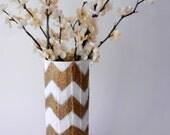 Gold and white Chevron Vase / gold vase / Painted Vases  / Geometric trend