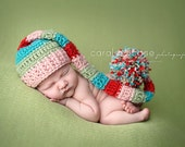 Baby Girl Elf Hat in Pink, Sage, Teal, and Red