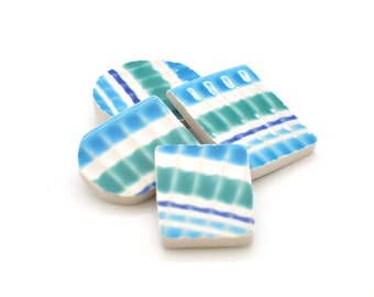 Broken China Magnet - Upcycled - Recycled Plate - Shades of Blue Stripes - Geometric Shapes - Set of four