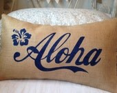 Aloha navy blue Hawaii burlap pillow hessian cushion cover