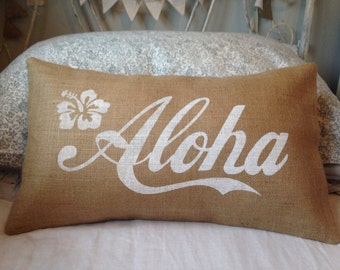 Aloha white Hawaii burlap pillow hessian cushion cover