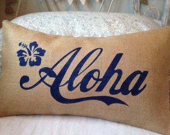 Aloha navy blue Hawaii burlap pillow hessian cushion cover