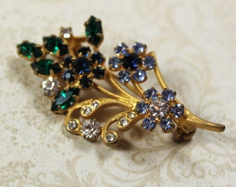 Vintage Emerald Green, Baby Blue and Diamond Gold Rhinestone Flower Bouquet Brooch