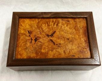 Walnut Keepsake box with Cherry Burl lid