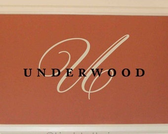 Family Name wall decal, Last name monogram decal, Wedding monogram decal, family room decor, personalized vinyl lettering (LL0967)