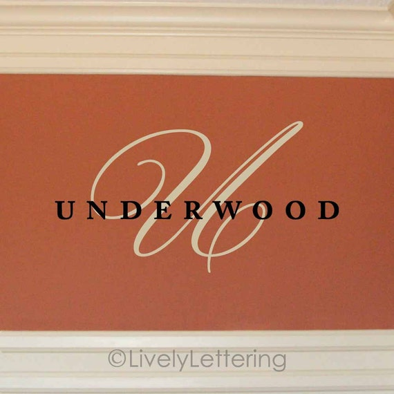 Family Name wall decal, Last name monogram decal, Wedding monogram decal, family room decor, personalized vinyl lettering (W00967)