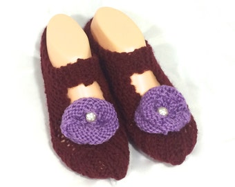 Cosy House Slipper Socks  (Maroon, with purple flowers)