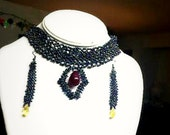 CUSTOM ORDER- Choker collar necklace, Seed beaded, Gemstone Red Ruby, Seed beaded Earring with Swarovski crystal drops