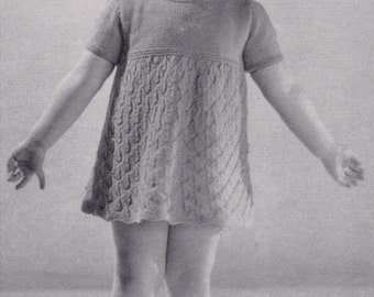 Vintage Toddler Knit Dress Pattern 1940s Instant Download SWEET! PATTERN ONLY