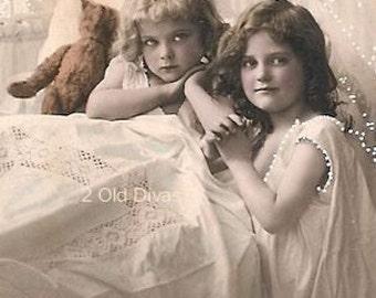 Vintage French 1920s Photo Postcard Girls At Bedtime Instant Digital Download Artwork