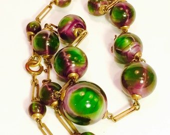 Beautiful Rare Watermelon Art Glass Art Deco Brass Vintage Antique Necklace Art Deco Jewelry