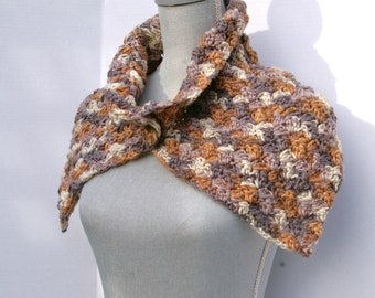 Crochet Cowl, Crochet Neck Warmer, Capelet in Greys and Tans