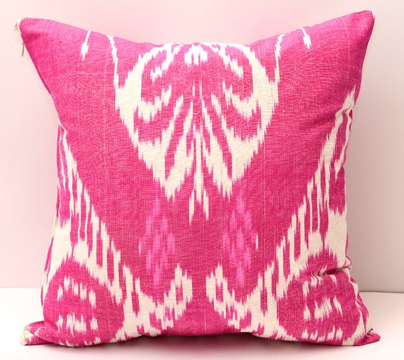 15x15 pink ikat cushion case pillow cover ikat pink by SilkWay