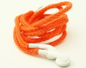 SALE Tangle-Free Earbuds in Neon Orange, Authentic Apple Earbuds