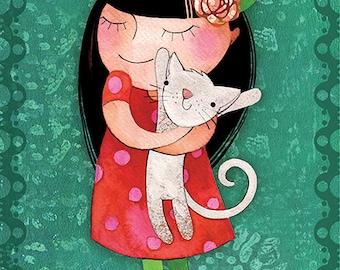 Love my cat, print, 6 x 9 print, wall decor, rose,cat