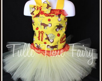Curious George Monkey birthday party pageant corset  tutu dress any size 12m 18m 2t 3t 4t 5t 6