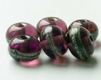 Handmade Purple Beads, SRA Lampwork Glass Spacers Made to order