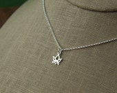 Tiny lotus bud charm necklace in sterling silver, tiny lotus charm, sterling silver necklace, silver lotus necklace