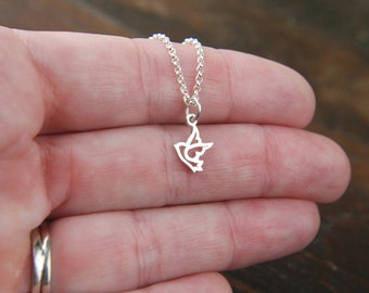 Tiny dove charm necklace in sterling silver, sterling silver bird, dove necklace, religious, tiny charm