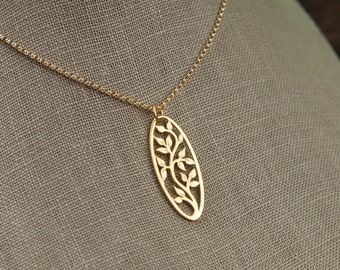Oval gold tree of life pendant and gold filled necklace, gold tree pendant, gold necklace, gold jewelry