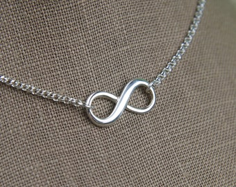 Infinity symbol necklace in sterling silver, sturdy, infinity necklace, silver infinity, eternity necklace, mother's day